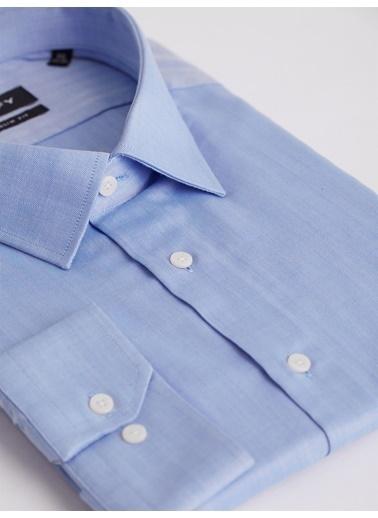 Dufy Dufy Çizgili Uzun Kollu Slim Fit Klasik Balık Sırtı Erkek Gömlek Mavi